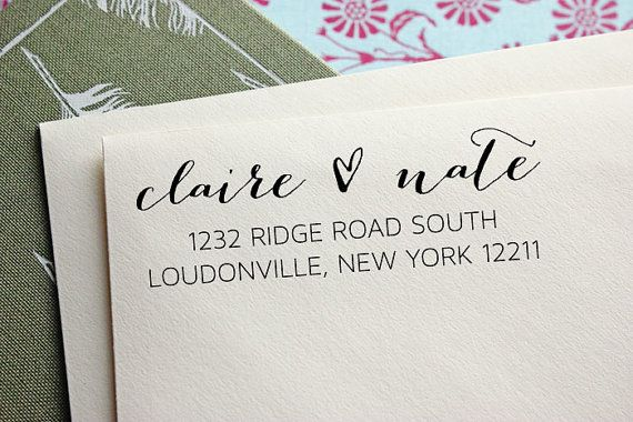 Add style to your envelopes with a custom address stamp!    Use with your own personal stationery, save the dates, or wedding invitations. Perfect