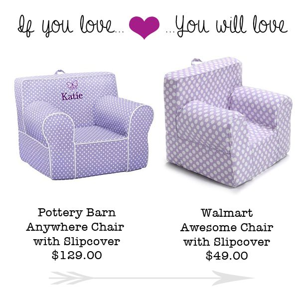 "If you love those super cute Bean Bag kids Chairs over at Pottery Barn, you are going to love this deal I found on a knock off at Walmart! Walmart has the ""Awesome Chairs"" priced anywhere from $45-$50, which is over 50% off the Pottery Barn price! Score! Pottery Barn Bean Bag Kids Chair $129 … Read more..."