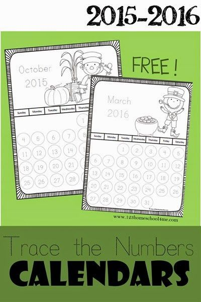 Printable June Calendar Kindergarten : Free calendar pages to color trace the numbers