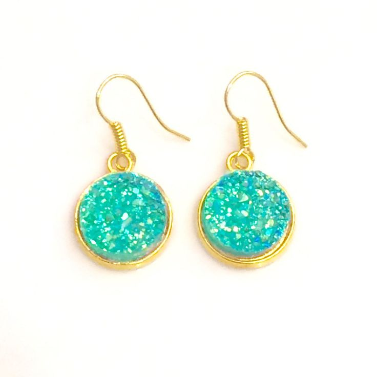 Turquoise Druzy Earrings - Gold toned earrings - bridesmaid gift Canada - Blue Earrings - Gold earrings Canada - Turquoise jewelry by AnisasClayCreations on Etsy https://www.etsy.com/ca/listing/563195434/turquoise-druzy-earrings-gold-toned