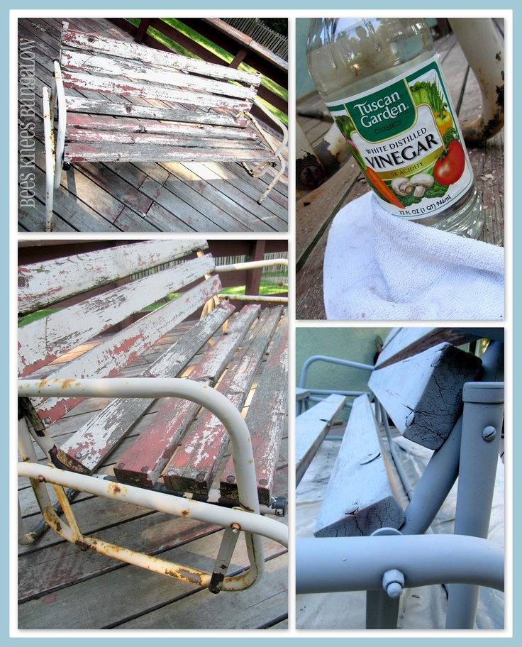 Use vinegar to help paint stick to rusty metal. Just rub it on with a rag. Who knew?  So that's what I did with my glider.  I poured vinegar onto a rag and rubbed it on to the metal. It dries almost instantly.  I spray painted on grey primer.
