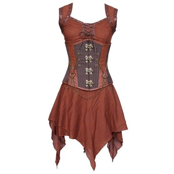 Steampunk Corset Dress ($145) ❤ liked on Polyvore featuring dresses, brown dress, corset dress, steam punk corset, corsette dress and steampunk dress