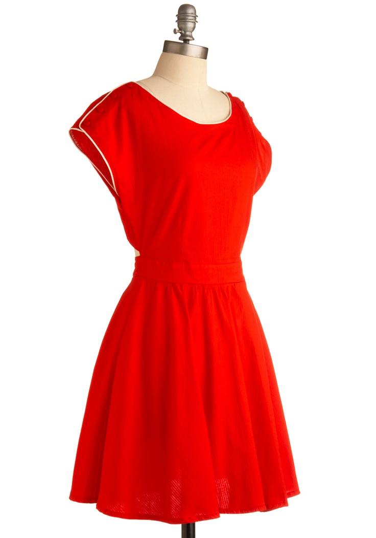 Coy in Crimson Dress | Mod Retro Vintage Printed Dresses | ModCloth.com