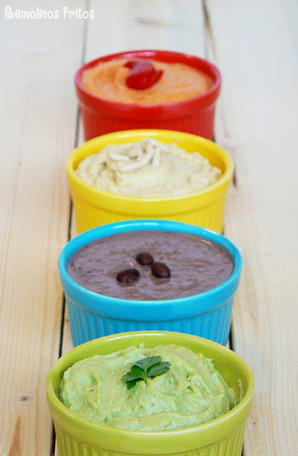 Hummus 4 flavours - classic, red pepper, avocado and black beans with cilantro. Try it!!