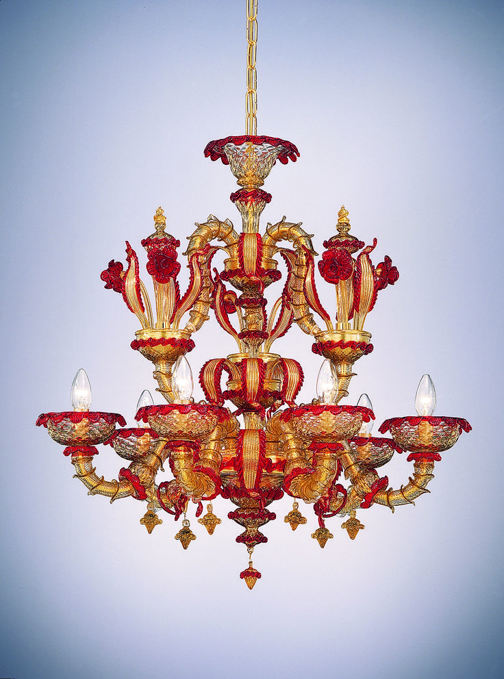 "#Exclusive #venetian #glass #chandelier model ""#Rezzonico"" with 6 #lights colour smoky grey with red and #gold leaf 24 #carats decorations.--- #Lampadario modello #Rezzonico 6 #luci in #vetro #Murano."