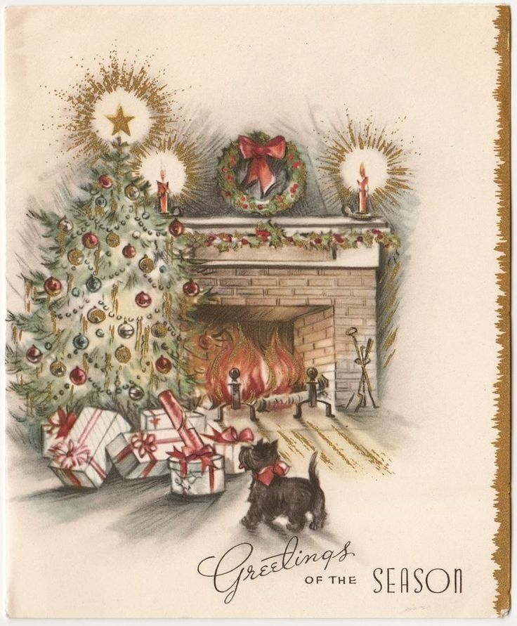 Vintage Greeting Card Christmas Tree Scotty Dog Fireplace