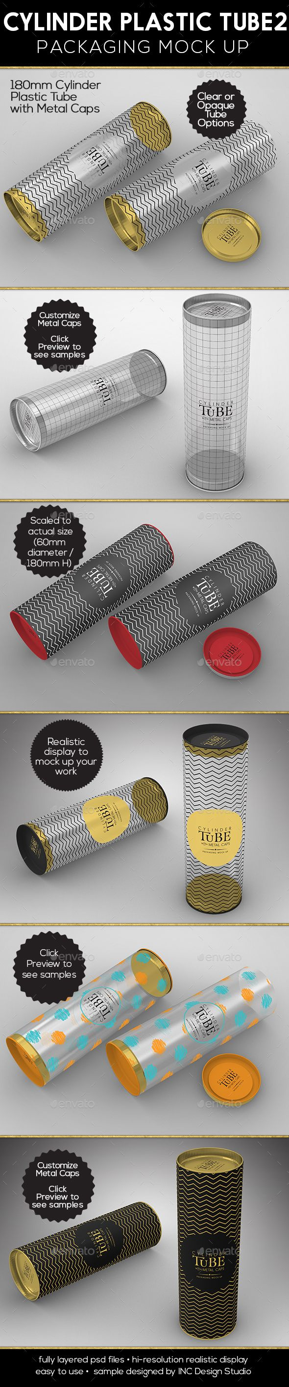 Cylinder 180mm PVC Tube Packaging with Metal Caps by incybautista Two (2) high resolution PSD mock-ups and various optionsProduct Mock up is scaled to size �20based on a 180mm in height and 60mm di