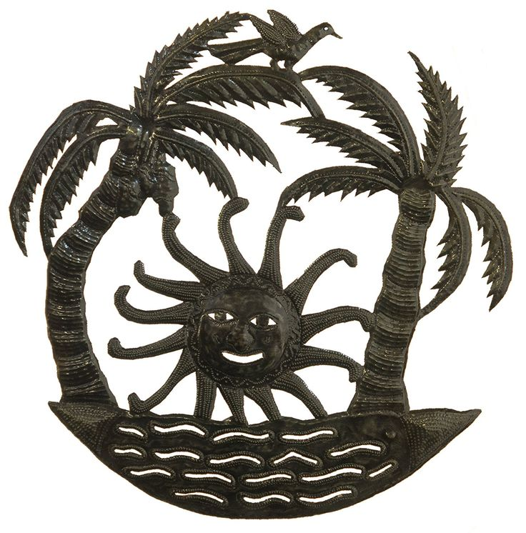 Le Primitif Galleries Haitian Recycled Steel Oil Drum Outdoor Decor, 23 by 23-Inch, Double Palms with Rising Sun * Want to know more, click on the image. (This is an affiliate link and I receive a commission for the sales)