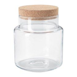 SINNERLIG, Jar with lid, clear glass, cork