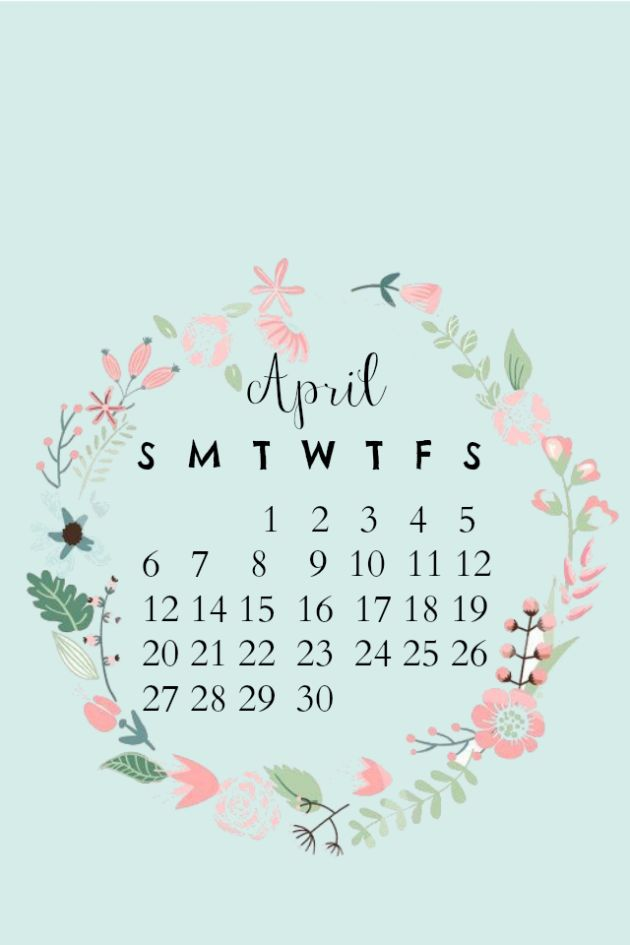 April iPhone/desktop calendar wallpaper