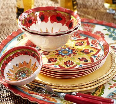 Seriously?  Melamine?  Yep - Cabo Melamine Dinnerware, Set of 8 for $56 to set a table for a fun get together.  Red #potterybarn