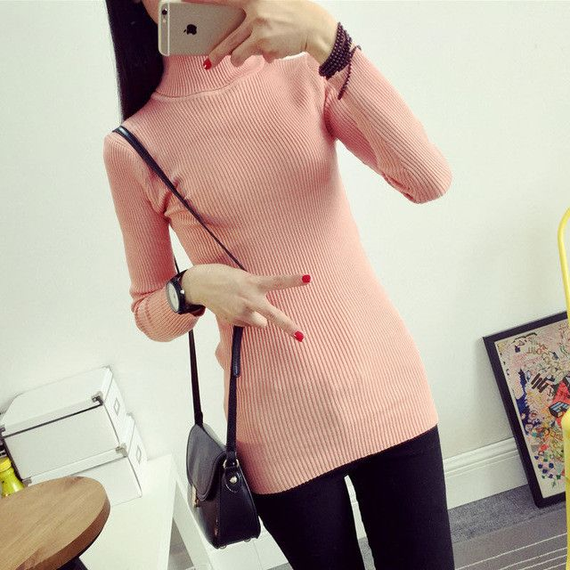 2017 Brand Spring Autumn Turtleneck Long Sweater Women Jumpers Knitted Mercerized Sweaters Top Clothes women pullovers Outerwear