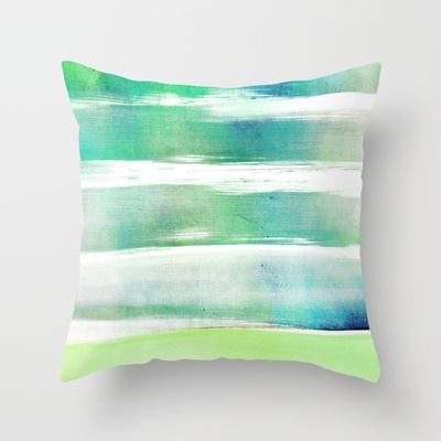 waves - turquoise Throw Pillow