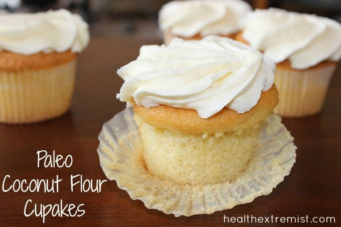 Easy recipe for vanilla paleo cupcakes (gluten-free). These paleo cupcakes are made with coconut flour and are soft, moist, delicious and healthy.