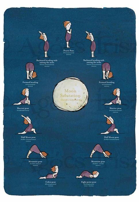 Moon SalutationFit, Moon Yoga, Salutation Yoga, Moon Salutation, Moon, Yoga Poses, Healthy, Night Yoga, Yoga Sequences
