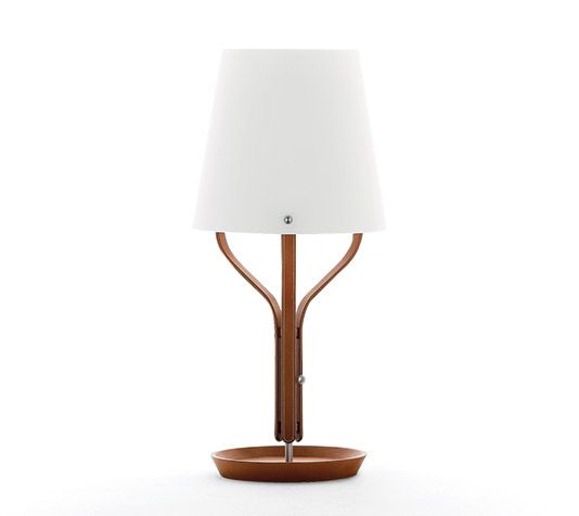 "Table lamp Hermes table lamp. H27.2""-12.6"". Base: D10.2"" Covered with gold taurillon essential leather. Opaline lampshade supported by three leather arms. Stands on a base which can be used as a change tray. Diffuse lighting. Dimmer to adjust light intensity. LED technology: 17.5W. Color temperature: 2700K. Voltage: 100-240V"