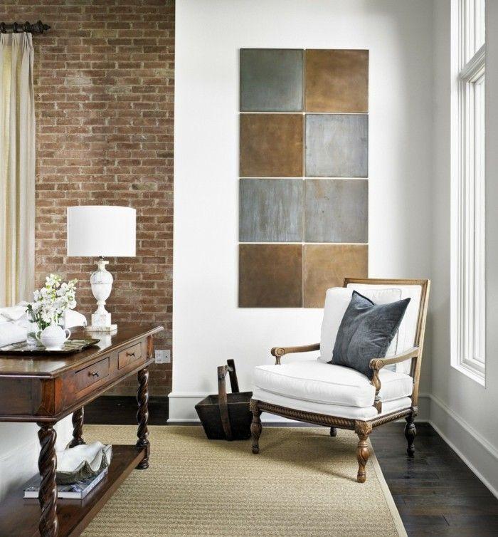 ideen fr wandgestaltung wohnzimmer ziegelwand wanddeko dunkler boden - Wandgestaltung Wohnzimmer