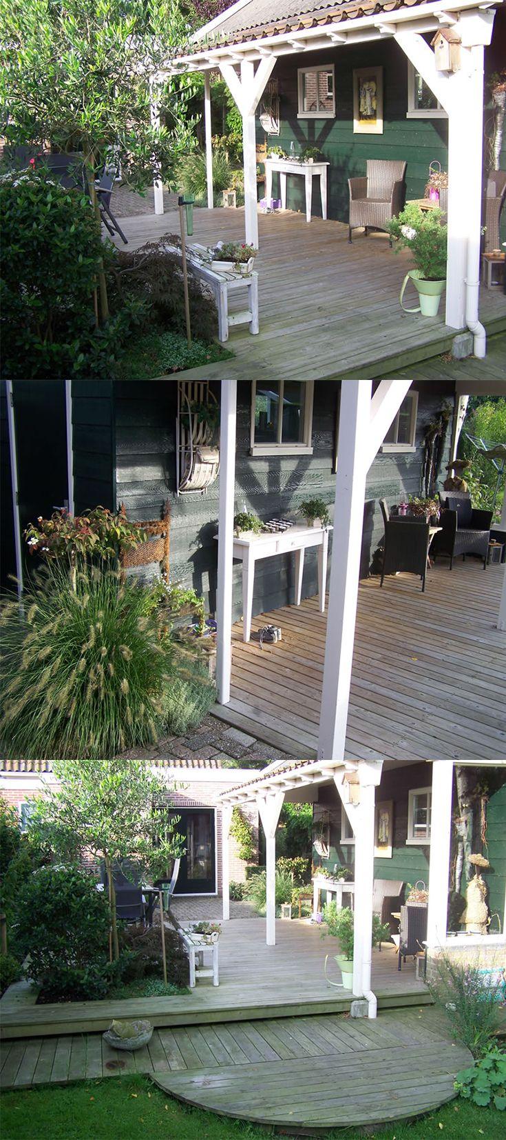 Tuinaanleg landelijke overkapping terras met houten vlonders inclusief tuinmeubelen aangelegd - Terras houten pergola ...