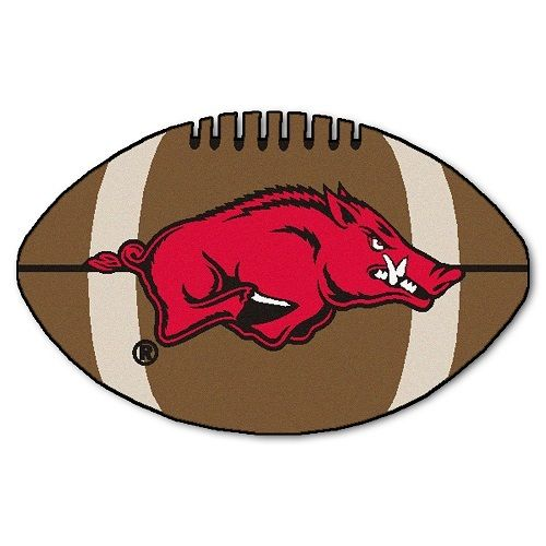 "Arkansas Razorbacks Football Shaped Area Rug Floor Mat - 22"" X 35"""