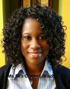 Crochet Braids -                                                              This lovely client is wearing GoGo curl 1b by FreeTRess shoulder length. Install