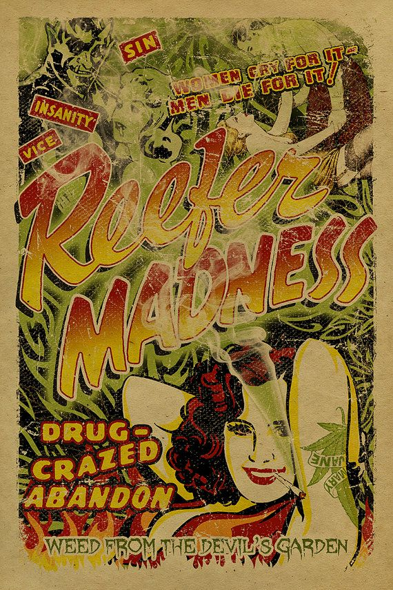 Reefer Madness poster. 12x18 Kraft paper Art by UncleGertrudes, $22.00