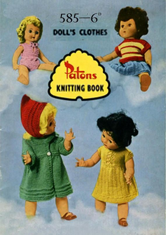 PDF Vintage Doll Clothes Knitting Pattern Booklet 1950s Patons