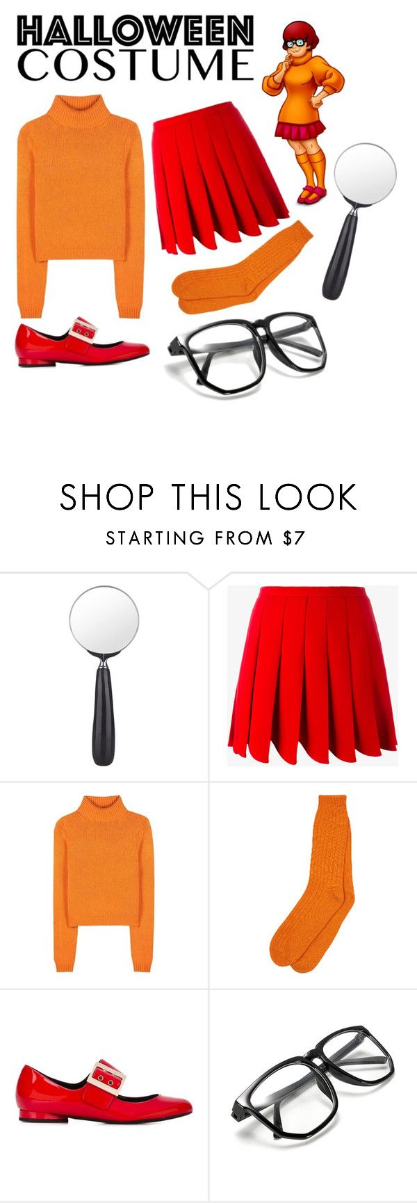 """DIY Velma Costume"" by spicy-milk ❤ liked on Polyvore featuring Cedes, Miu Miu, Acne Studios, Lanvin, halloweencostume and DIYHalloween"