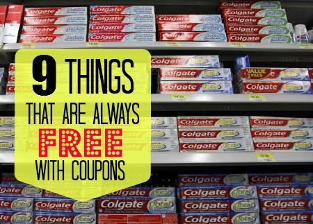 There's couponing, and then there's couponing for FREE - which one would you rather do? If you love free stuff, you're going to love this post about 9 things that are always free with coupons!