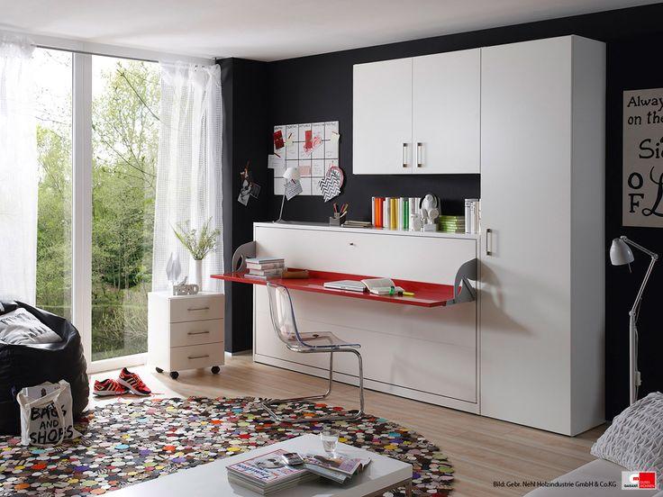 8 best schlafzimmer images on pinterest bedroom - Wandbett mit schreibtisch ...