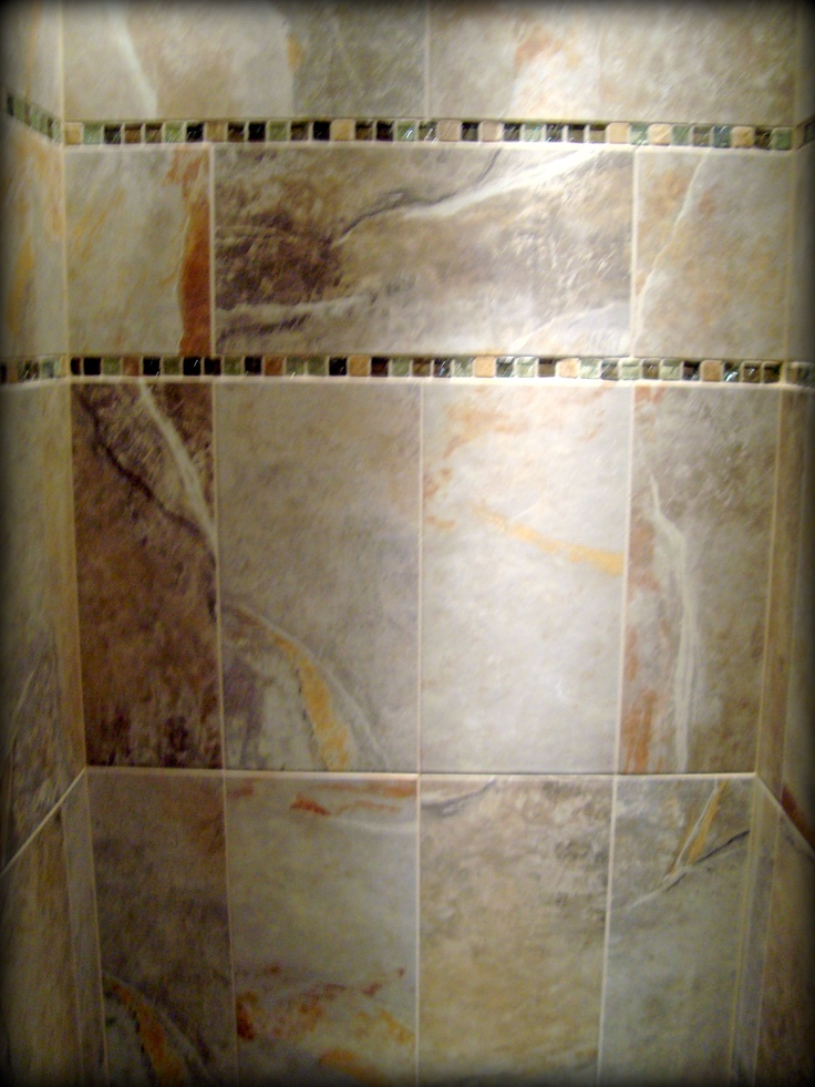 Shower Tile Mix : Tiled shower metro slate porcelain by shaw with