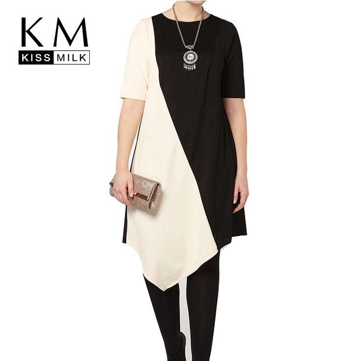Kissmilk Plus Size New Fashion Women Loose Fit Black and White  Women T-shirt  Fashion Slim Leisure T-shirt 3XL 4XL 5XL 6XL
