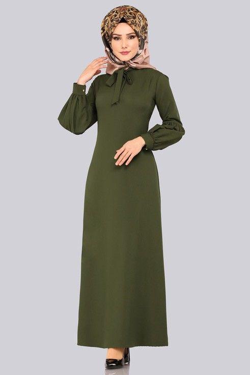 Modaselvim Elbise Balon Kol Tesettur Elbise 1010bgs354 Haki Moda Stilleri Elbise Elbise Modelleri