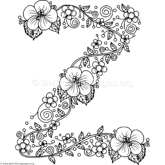 Free to Download Floral Alphabet Letter Z Coloring Pages #
