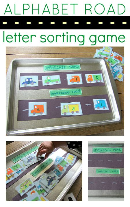 No Time for Flash Cards: This is the letter sorting game  for cars and trucks. You could do it as a magnet activity like we did or laminate it. This activity is part of our Alphabet for Starters series that is focused on making playing with letters fun and dynamic. This can be adapted to any level. For children just beginning to notice letters can simply put the letters on the road.