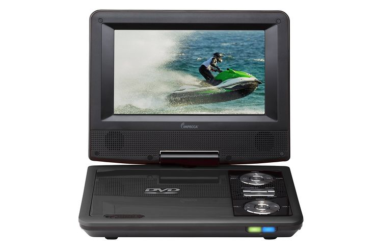 Impecca DVP775K 7 Inch Swivel Screen, Portable DVD Player, with Rechargeable Battery, SD Card Slot and USB Port, Black