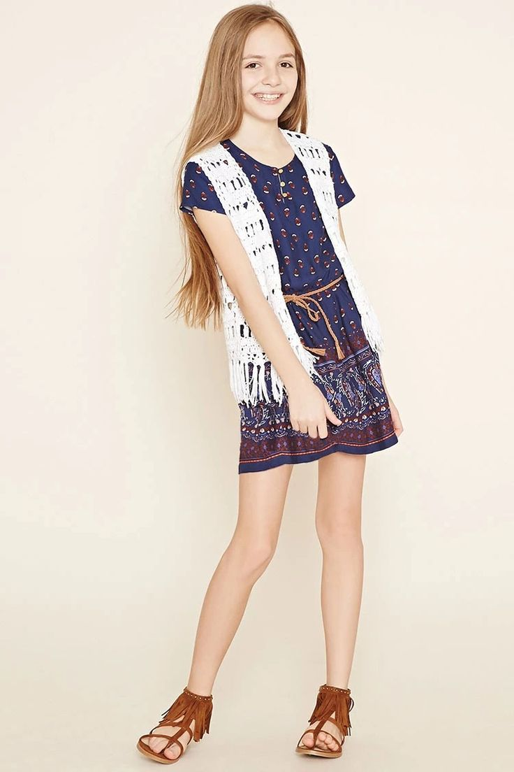 Girls Ornate Print Dress (Kids) #f21kids