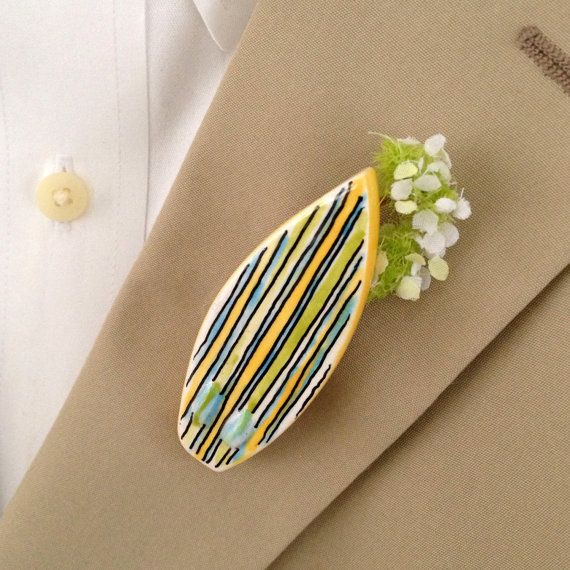 Grooms surfboard boutonniere surf beach wedding gift by Cathie Carlson