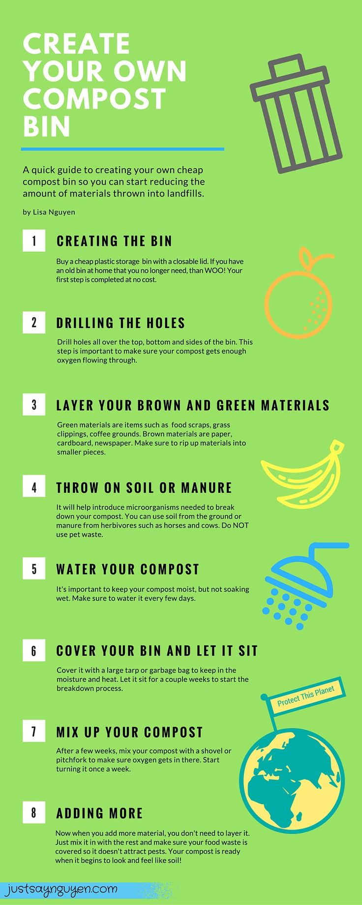 Why You Should Compost & How You Can Start.   Great instructions on how to make a compost bin and what to put in there!