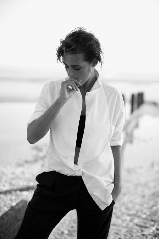 Yasmin Le Bon in a Giorgio #Armani cotton shirt and wool trousers