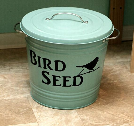 Bird food storage bird seed storage bird by for Bird food holder