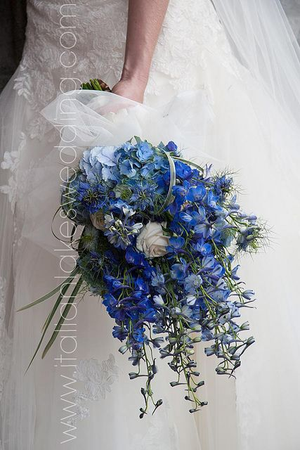 """Ballerina"" Wedding Bouquet Featuring: Blue Hydrangea, Blue Delphinium, Blue Cornflower, White Roses, Green Bear Grass Hand Tied With White Ribbon & White Tulle"