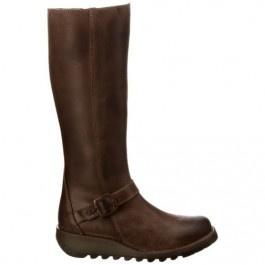 FLY London Sara Wedge Knee High Boot Dark Brown $119.99