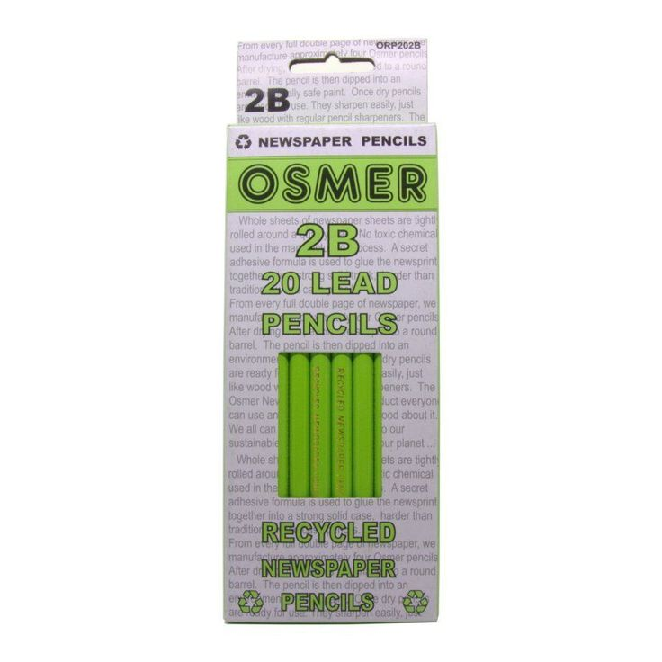 $12.75 Deilvered : 2 boxes of 20 = 40 Osmer Recycled Newspaper Graphite Lead Pencils in 2B and/or HB. These Osmer quality pencils are made from 80% clean recycled newspaper, tightly rolled around a quality graphite lead.      Easy to sharpen and have a cushioned lead.     Great graphite coverage.     Water resistant durable gloss finish.     Environmentally friendly product.     Also available in coloured pencils.