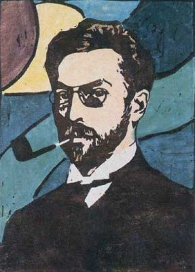 Gabriele Münter: Portrait of Wassily Kandinsky, 1906 - color woodcut