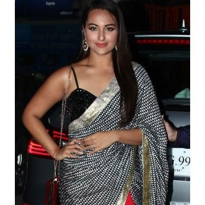 Sonakshi Sinha in Black Red Saree Dress