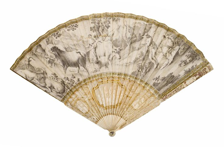 Folding fan with pierced, carved and gilt ivory sticks and guards, and double leaf of chicken skin with a pen and ink drawing on obverse of a man and woman driving cattle, with goats resting to left and a man and woman with baby and dog to right, c. 1770-1780.