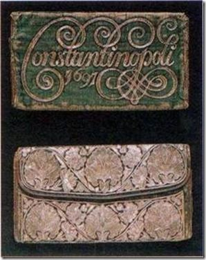 Document wallet of green silk velvet on leather embroidered in silver The owner's name JACOBUS BISANTIUS DE HOCH-PIED, probably a Dutch merchant, is concealed under the flap, dated 1697.