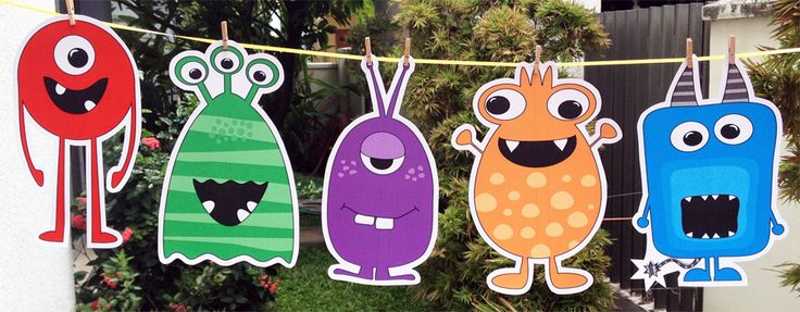 printable monster decoration cut outs