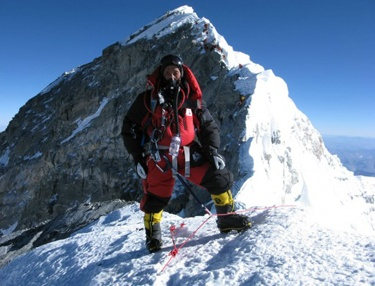 World-record holder Apa Sherpa wearing Hot Chillys on his 21st climb up Mt. Everest.