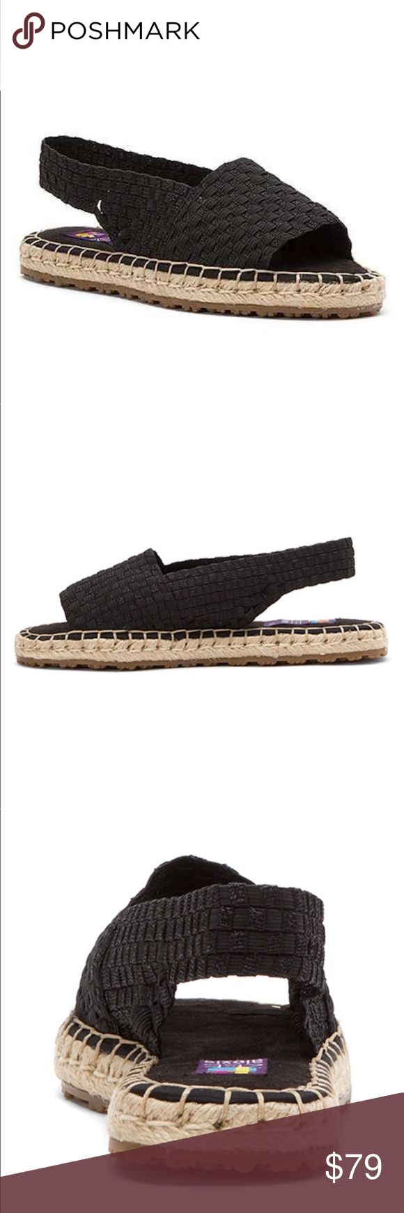 Black Woven Espadrille SlingBack Sandal A open-toe design and woven-elastic construction offer a breathable, flexible fit in this casual espadrille sandal. Woven elastic upper Textile lining Memory foam footbed Rubber sole Imported European Size 40 9.5-10 Urban Outfitters Shoes Espadrilles